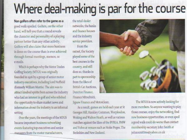 Press coverage of Motor Trades Golfing Society