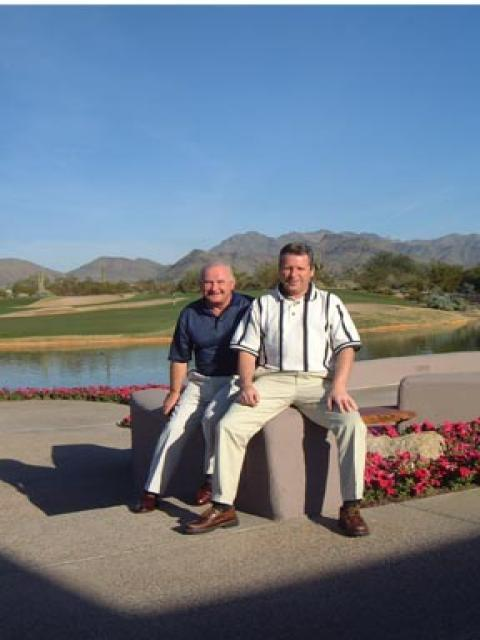 Mel Dawkins & Peter Featherstone after a heavy round