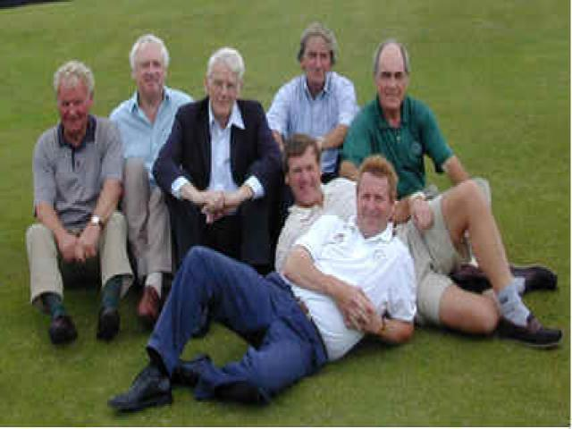 Back row: (l-r) John Godley, Captain of Maidenhead Golf Club, Bill Briggs, Terry Gower, Bill Perkins, Lionel Squire <br /> Front row. (l-r); Charles Slaughter, Peter Featherstone.<br /> All of the back row are members of Maidenhead.