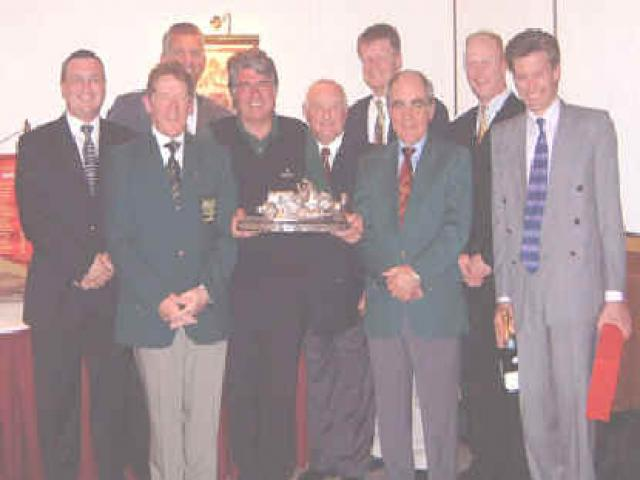 1st Prize Winners L to R, Jeff Cowan (Texas S), James Ware (Texas S), Brice Adamson (Car Collection Trophy), Derek Allen (Riches Trophy), Melvin Dawkins (Captain for the Day), Jeff Cowan (Guest Div. 2), Lionel Squire (President 2002), Ed Spitzer (Texas S), Neil Curtis (Guest Div. 1)